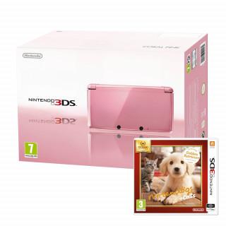 Nintendo 3DS (Rózsaszín) + Nintendogs & Cats Golden Retriever and New Friends 3DS