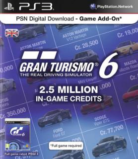 Gran Turismo 6 (GT 6) 2.5 millió kredit értékű feltöltőkártya PS3