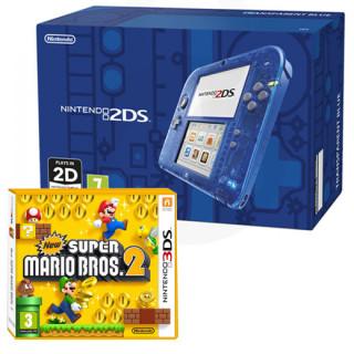 Nintendo 2DS (Átlátszó, kék) + New Super Mario Bros. 2 3DS