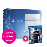 Playstation 4 (PS4) 500 GB (White) + Uncharted 4 A Thief's End PS4