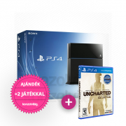 Playstation 4 (PS4) 500 GB + Uncharted The Nathan Drake Collection + 2 ajándék játék PS4