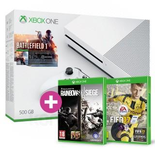 Xbox One S 500GB Battlefield 1 bundle + FIFA 17 + ajándék Rainbow Six Siege és választható ajándék Xbox One