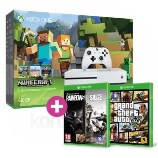 Xbox One S 500GB + GTA V + Minecraft + Rainbow Six Siege és választható ajándék Xbox One