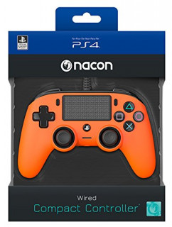 Playstation 4 (PS4) Nacon Wired Compact Kontroller (Narancs) PS4