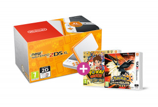 New Nintendo 2DS XL (White-Orange) + Pokemon Ultra Sun + Yokai Watch 2 FL 3DS