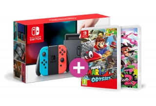 Nintendo Switch (Red-Blue) + Splatoon 2 + Super Mario Odyssey Switch