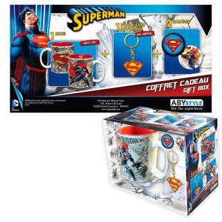 DC COMICS - Bögre + Kulcstartók + Kitűzők - Superman (460ml) AJÁNDÉKTÁRGY