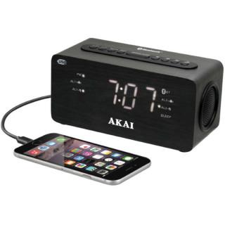 AKAI ACR-2993 Bluetooth-os kettős ébresztőóra USB töltővel PC
