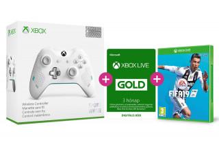 Xbox One vezeték nélküli kontroller (Sport White Special Edition) + FIFA  19 + Xbox Live Gold 3 hónapos előfizetés XBOX ONE