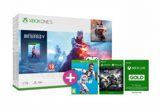 Xbox One S 1TB + Battlefield V + FIFA 19 + Gears of War 4 + 12 hónapos Live Gold tagság Xbox One