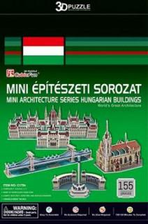 3D-puzzle mini magyar épületek (Parlament,Mátyás-templom,Hősök tere,Lánchíd) Ajándéktárgyak