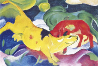 Mini mûvész puzzle 150 Franz Marc: Cows - Yellow, Red, Green (36) Ajándéktárgyak