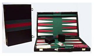 Backgammon, 38x25 cm-es, fekete műbőr - 605502 Ajándéktárgyak