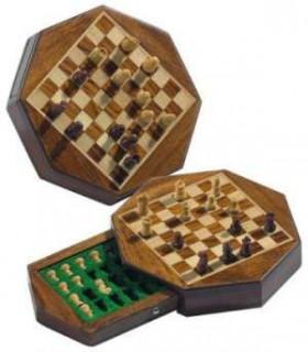 Sakk készlet, mágneses nyolcszögû táblán, 14x14cm-es - 672718 Ajándéktárgyak