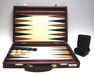 Backgammon sötétbarna fa fogantyúval, intarziás, 38x26 cm-es - 601163  Ajándéktárgyak