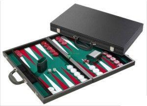 Backgammon-fekete koffer(38cm)-605512 Ajándéktárgyak