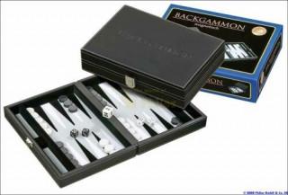 601712 Backgammon - fekete mûbõr 23cm Ajándéktárgyak