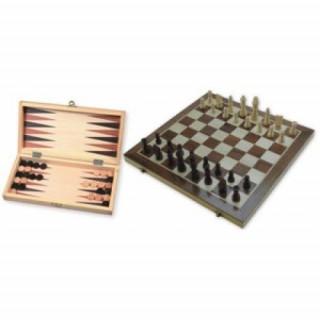 Sakk és Backgammon fából, 29 cm 670016 Ajándéktárgyak