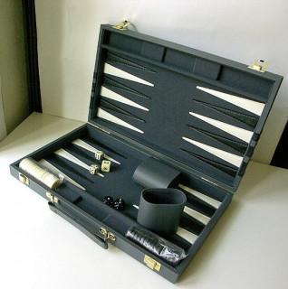Backgammon - szürke mûbõr koffer (38cm) - 604165 Ajándéktárgyak