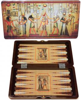 Backgammon, 30 cm-es Egyiptomos fadobozban - 601130 Ajándéktárgyak