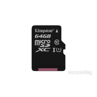 Kingston 64GB SD micro Canvas Select 80R (SDXC Class 10  UHS-I) (SDCS/64GBSP) memória kártya PC