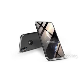 GKK GK0247 3in1 iPhone XS Max Logo fekete/ezüst három részből álló védőtok PC