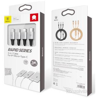 Baseus Rapid Series 3-in-1 fekete-ezüst 1,2m USB kábel (Lightning+Micro+Type-C) PC