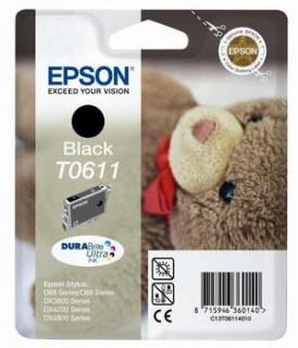 Epson fekete tintapatron, 1 darab, T0611, DURABrite Ultra tinta PC