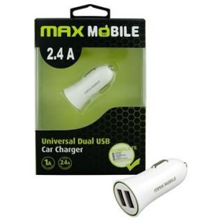 Max Mobile Autós töltő USB DUO SC-106 2.4A - fehér Mobil