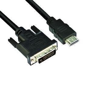 VCOM kábel HDMI-DVI 1.8m (HDMI M--DVI24+1M 1080P) PC