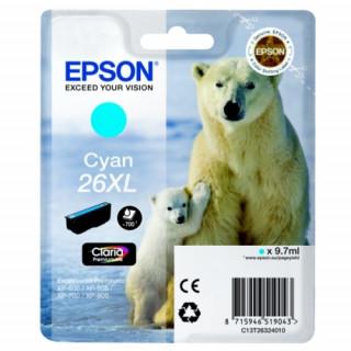 Epson cián tintapatron, 1 darab, 26XL, Claria Premium tinta PC