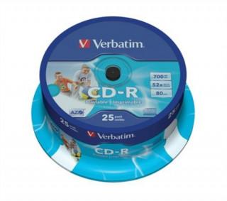 VERBATIM 25 db CD-R lemez, nyomtatható, matt, ID, AZO, 700MB, 52x, hengeren PC