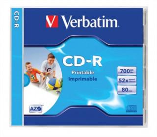 VERBATIM CD-R lemez, nyomtatható, matt, ID, AZO, 700MB, 52x, normál tok PC