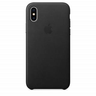 Apple iPhone X bőr hátlap, Fekete Mobil