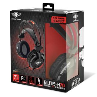 Spirit of Gamer Fejhallgató - ELITE-H70 Black (7.1, mikrofon, USB, hangerőszabályzó, nagy-párnás, 2.4m kábel, fekete) PC