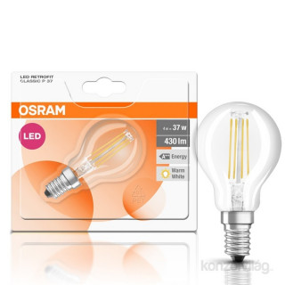 Osram Star Filament 4 W/827 40 E14 470 lumen LED kisgömb izzó PC