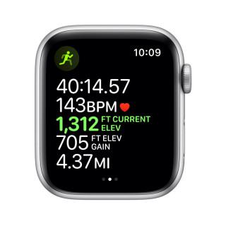 Apple Watch Nike Series 5 GPS, 44mm Ezüst alumíniumtok platinaszín-fekete Nike sportszíjjal Mobil