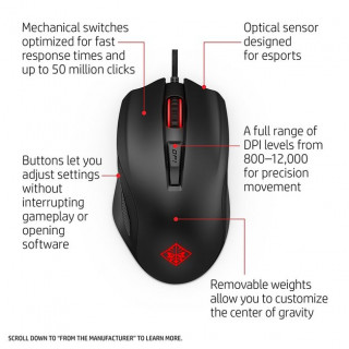 HP OMEN 600 Gaming Mouse USB Fekete (1KF75AA) PC