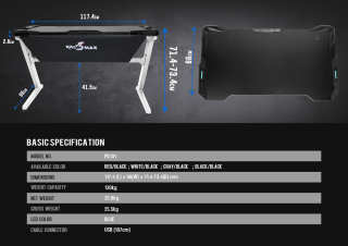Raidmax DK101 Gaming Desk, Red/Black PC