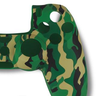 Spartan Gear - Controller Silicon Skin Cover and Thump Grips Green Camo PS4